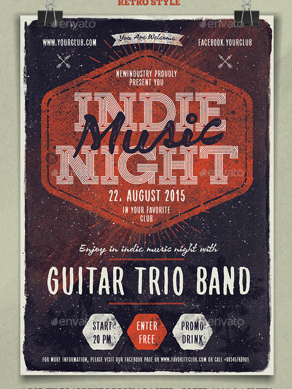 Indie Music Night Poster Flyer