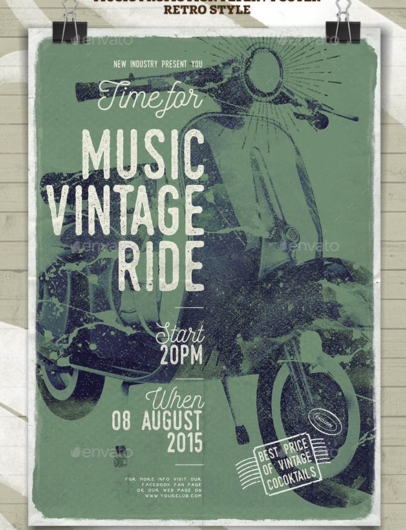 Music Vintage Ride Flayer Poster