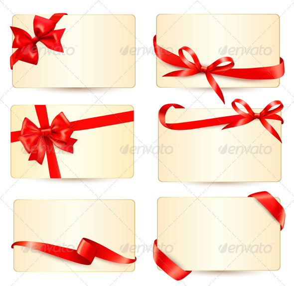 Set of gift with red gift bows.