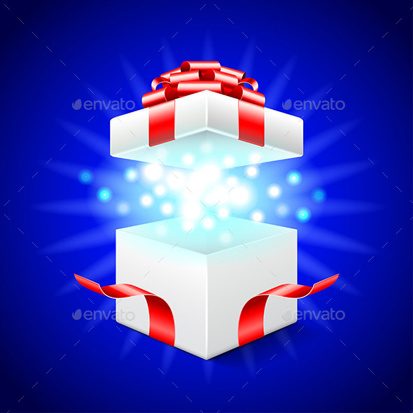 open gift-box on blue vector background