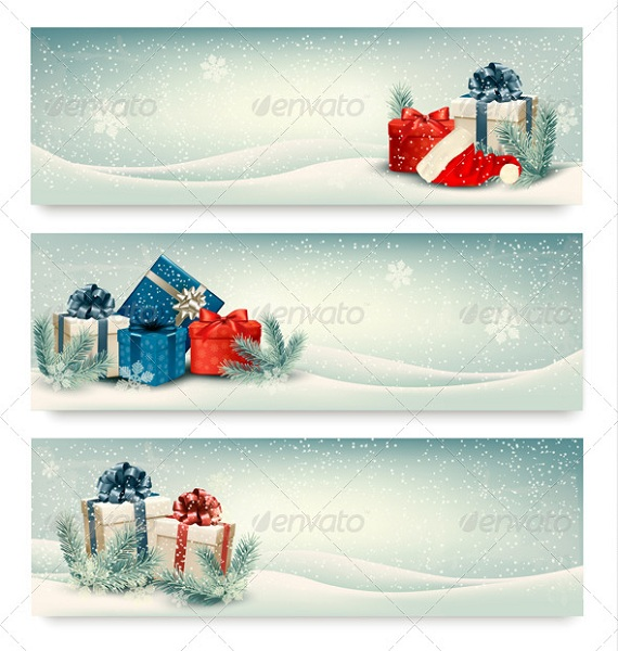 three retro holiday christmas banners with gift boxes