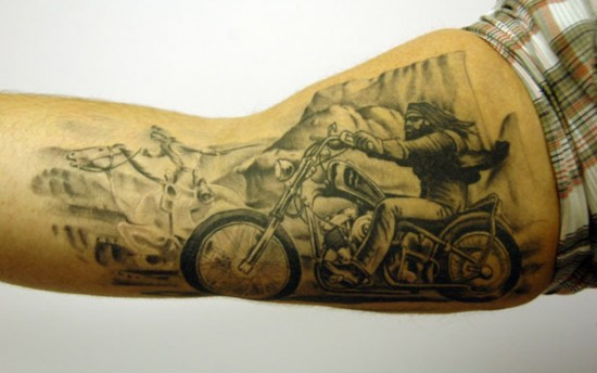 Badass Motorcycle Tattoo On Arm