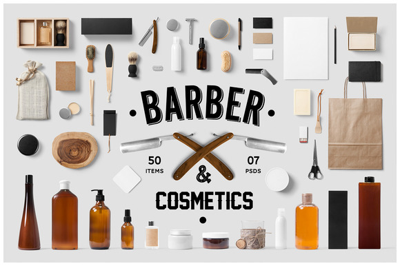 Barber Cosmetics Branding Mock-Up