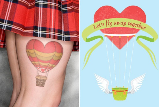 Cute Cartoonic Air Balloon Tattoo