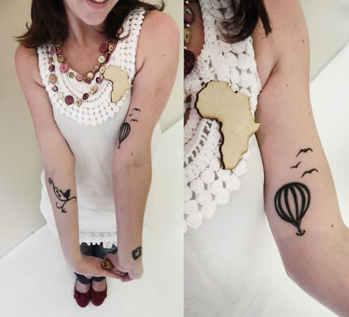 Cute Hot Air Balloon & Bird Tattoo