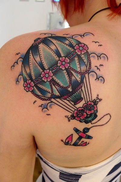 Cute Hot Air Balloon Tattoo