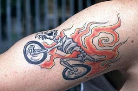 Fire Bike Tattoo