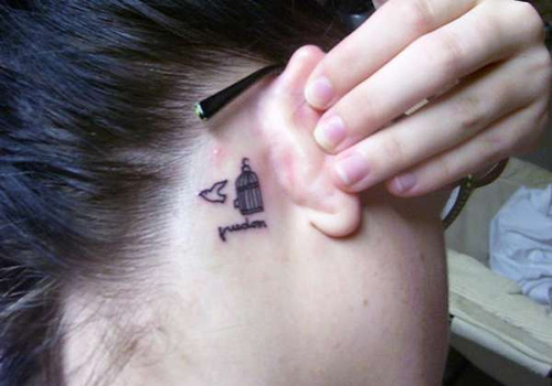 Freedom Tattoo on Back Ear