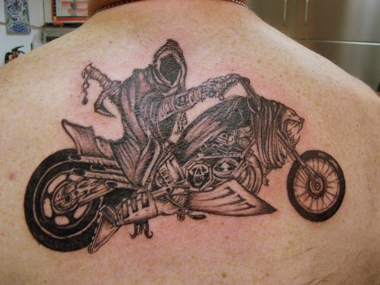 Ghost Biker Tattoo On Back
