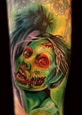 Green Zombie Monster Tattoo