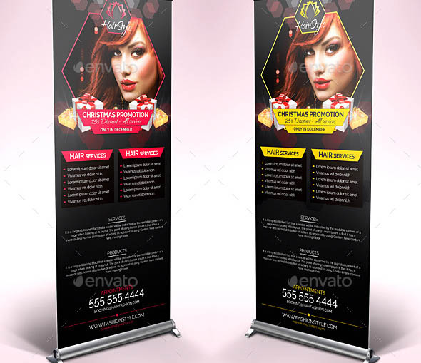 Hair Salon Christmas Promotions Roll Up Banners