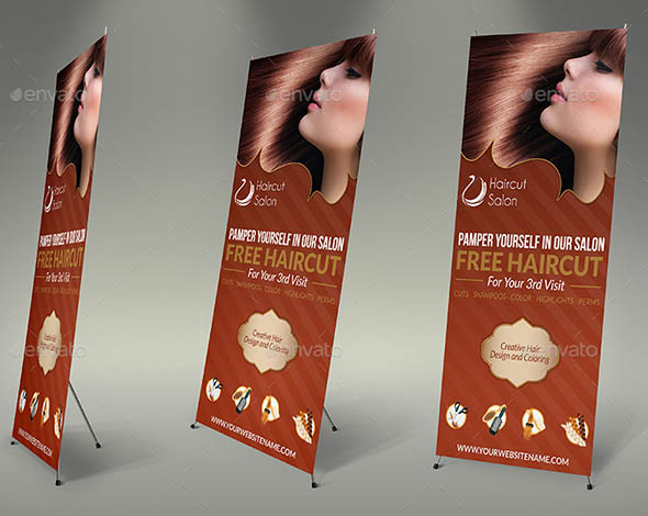 Hair Stylist Salon Signage Roll-Up Template