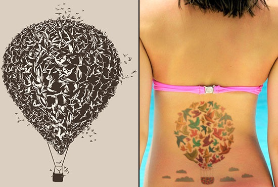 Hot Air Balloon & Bird Tattoo