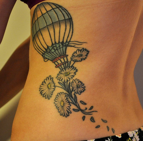 Hot Air Balloon & Flower Tattoo For Girl