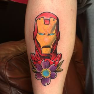 Iron Man & Flower Tattoo
