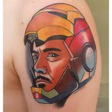 Iron Man Head Tatttoo