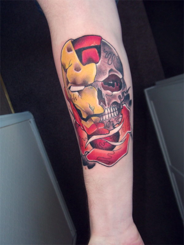 Iron Man Skull Head Tattoo