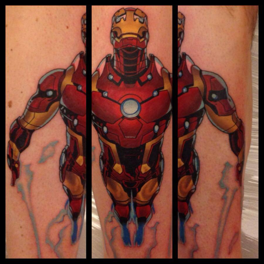 Iron Man Tattoo on Leg