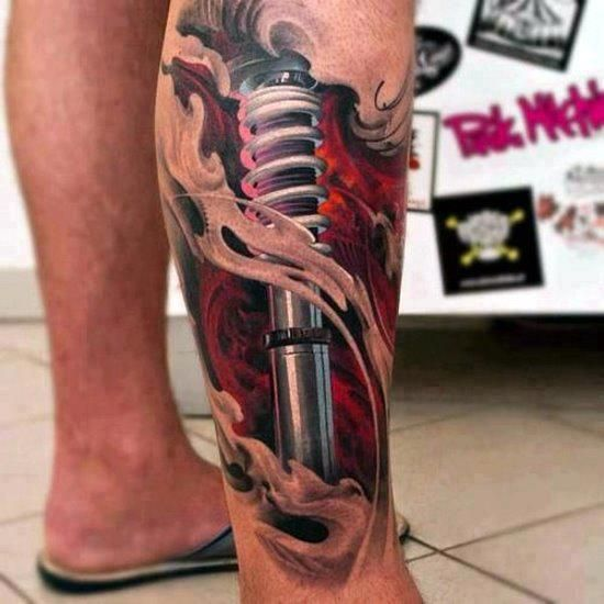 Ironman Leg Tattoo