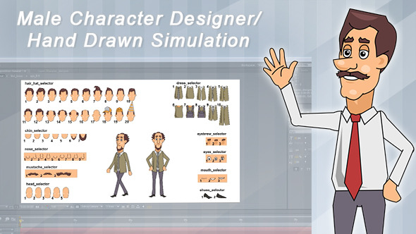Male Character Designer Hand Drawn Simulation