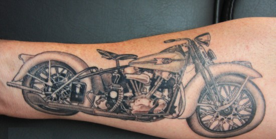 Motorcycle Tattoo On Leg
