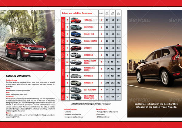 20 car rental service brochure templates desiznworld for Car brochure template