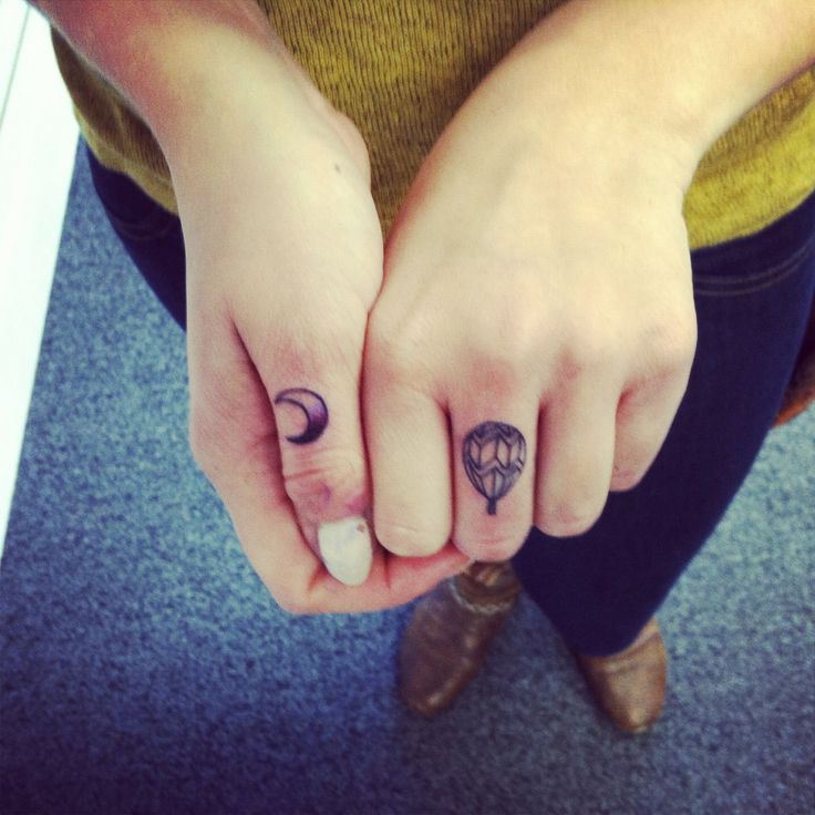 Small Air Balloon Tattoo on Finger