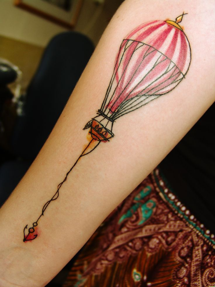 Water Color Air Balloon Tattoo