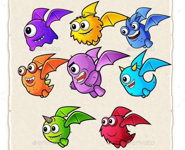 8 Flying Monster Enemies 2D Game Character Sprites