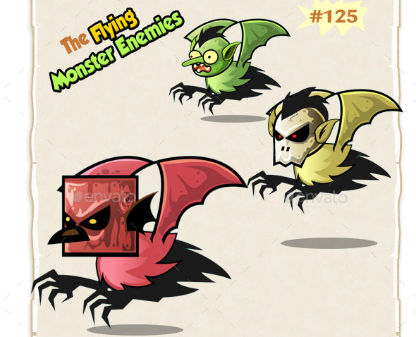 Flying Monster Enemies 2D Game Character Sprites 1