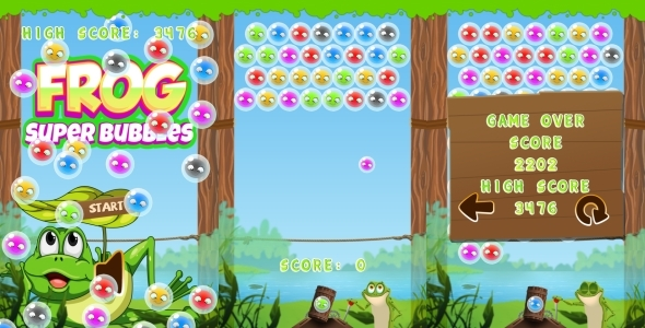 Frog - Super Bubbles HTML5 Game CAPX