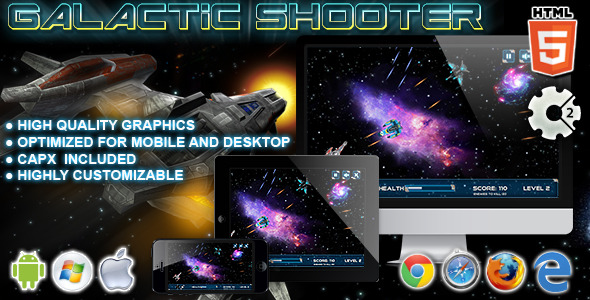Galactic Shooter HTML5 Construct Game