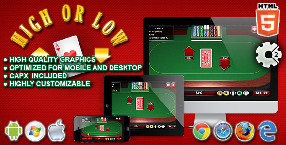 High or Low HTML5 Construct Casino Game