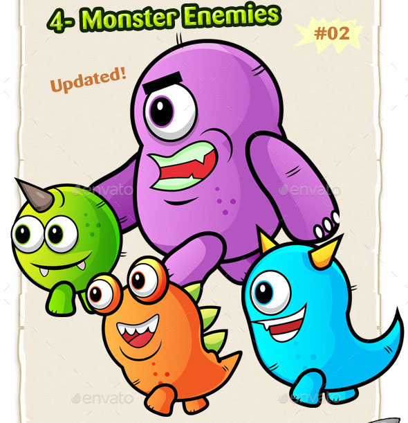 Monster Enemies 2D Game Character Sprites 02