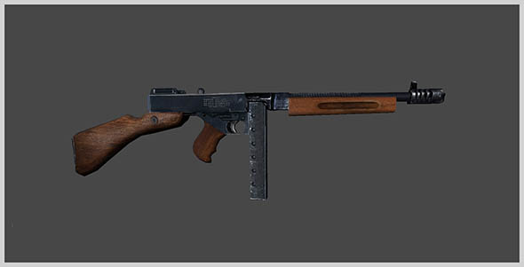 Thompson Submachine Gun 3D Model