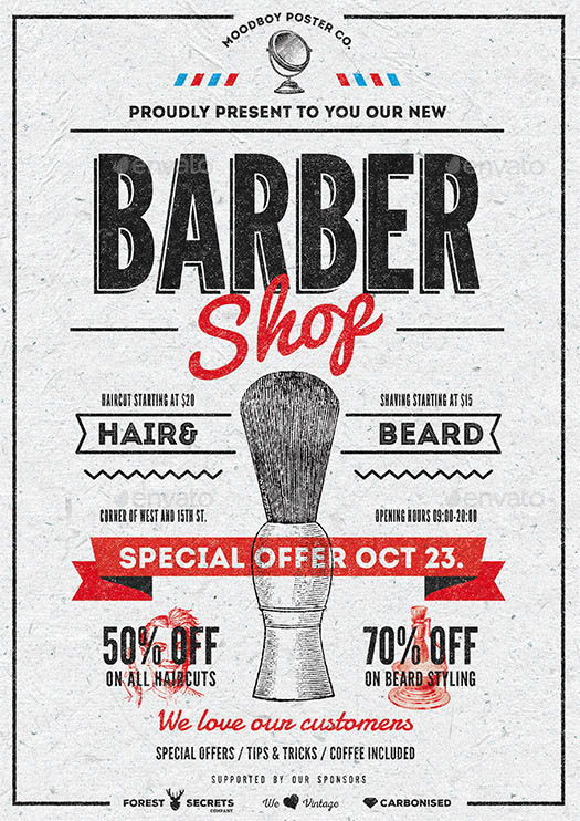 Barber Shop Vintage Flyer Poster