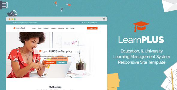 LearnPLUS Education LMS Responsive Site Template