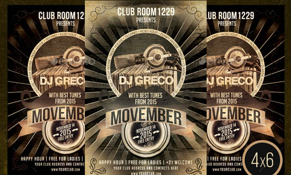 Movember Guest DJ Flyer Template