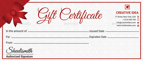 Multipurpose Gift Certificate And Gift Card