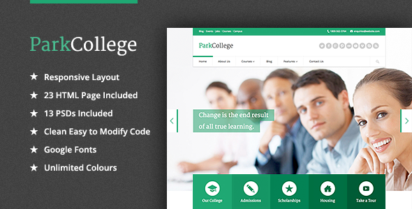 ParkCollege Education Responsive HTML Template