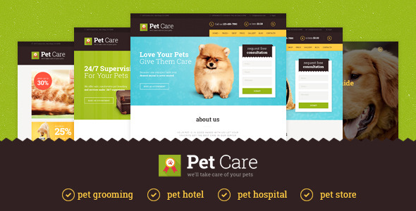Pet Care Grooming Hotel Hospital Shop