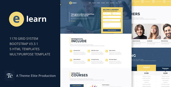 e-Learn - Onepage Bootstrap Education HTML