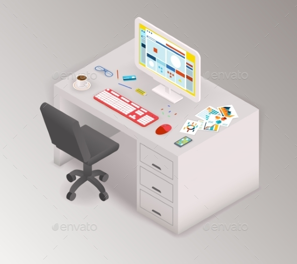 Creative Office Isometric Workspace