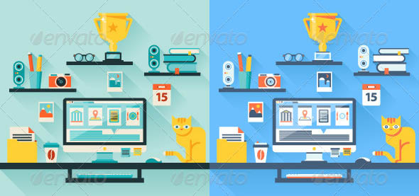 Flat Vector Illustration of Office Workspace