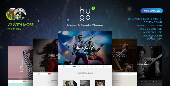 Hugo Music Artist Singers Bands WordPress