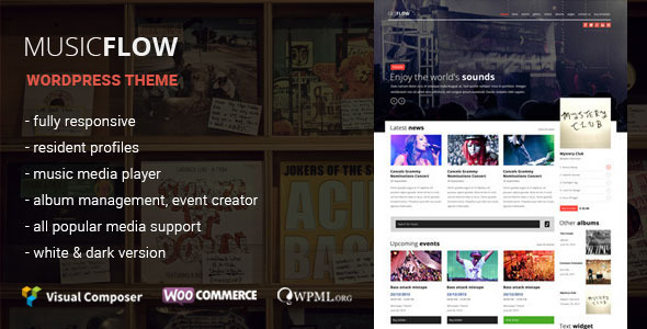 MUSICFLOW music bands wordpress theme