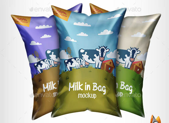 Milk in Bag Mockup