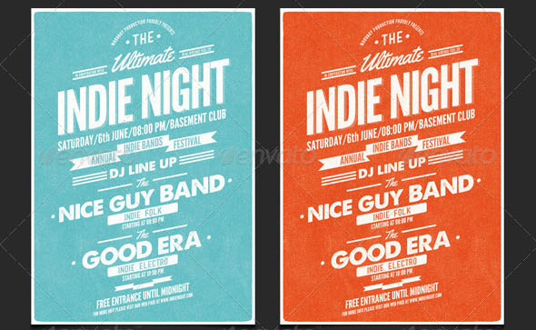 Vintage Indie Night Flyer Poster
