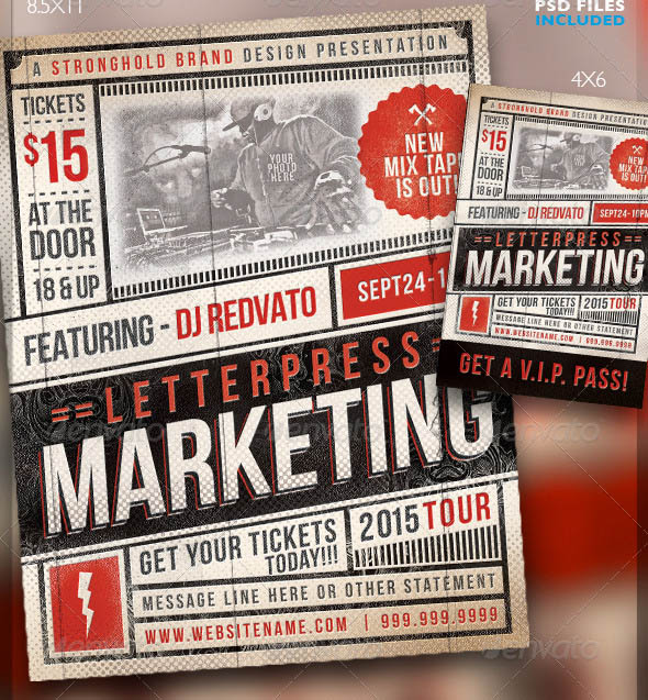 Vintage Letterpress Event Flyer Template