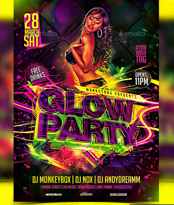 Flyer Glow Party Konnekt